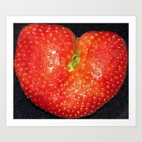 Strawberry of Heart Art Print
