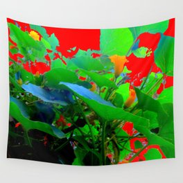 RED ABSTRACT GARDEN ART Wall Tapestry