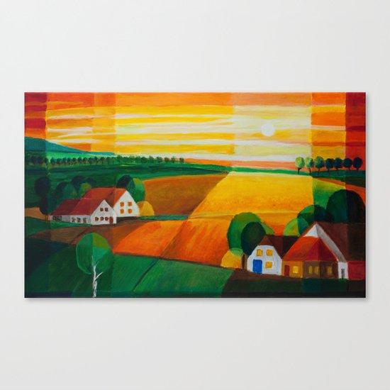 DoroT No 0181–Summer Evening Over Village – Sommerabend über dem Dorf Canvas Print