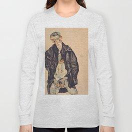 "Egon Schiele ""Selbstbildnis als Halbakt in schwarzer Jacke (Self-portrait in a black jack)"" Long Sleeve T-shirt"