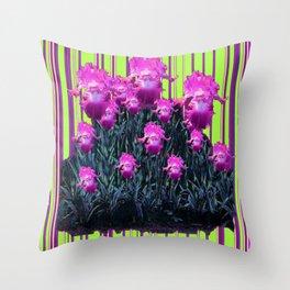 Modern Chartreuse Striped Pink Iris Garden Art Throw Pillow
