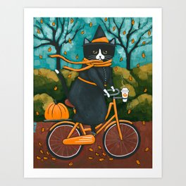 A Witchy Cat Autumn Bicycle Ride Art Print