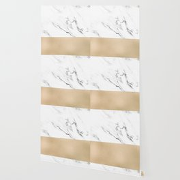 White Marble with Black and Copper Bronze Wallpaper
