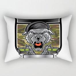 Cougar Panther Mascot Head military emblem Rectangular Pillow