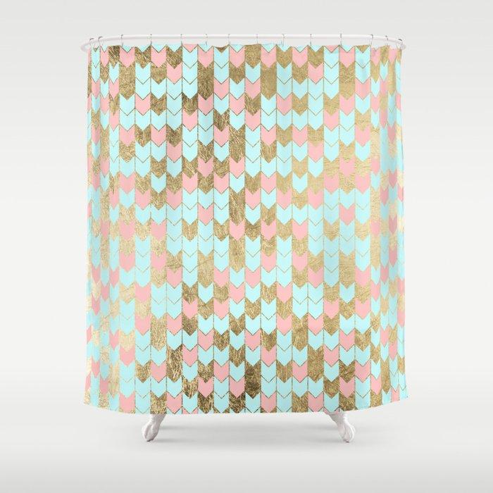 Modern Faux Gold Coral Teal Geometrical Chevron Shower Curtain