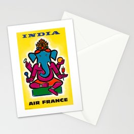 1950 India Air France Ganesha Airline Poster Stationery Cards