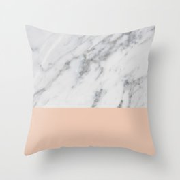 Marble and Blush Pink Throw Pillow