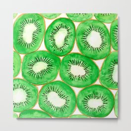 Watercolor kiwi slices pattern Metal Print