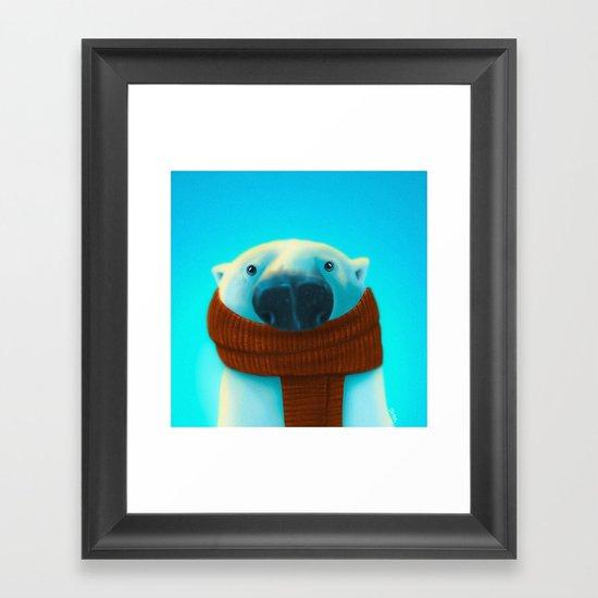 Polar bear with scarf Framed Art Print