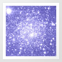 lavender Art Prints featuring Lavender Periwinkle Sparkle Stars by Whimsy Romance & Fun