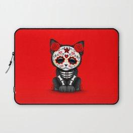 Cute Red Day of the Dead Kitten Cat Laptop Sleeve
