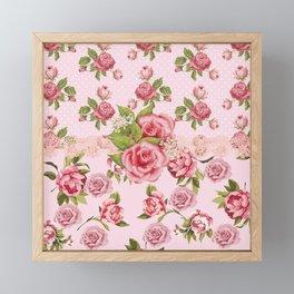 Country Rose Pink Floral Framed Mini Art Print