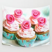 cupcakes Wall Tapestries featuring Romantic Cupcakes by A.Aenska-Cholpanova
