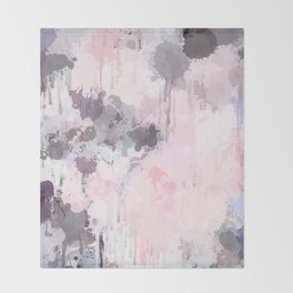 Modern Contemporary soft Pastel Pink Grey Abstract Throw Blanket