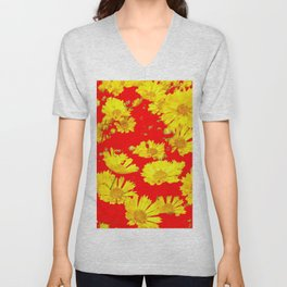 RED-YELLOW COREOPSIS FLOWERS ART Unisex V-Neck