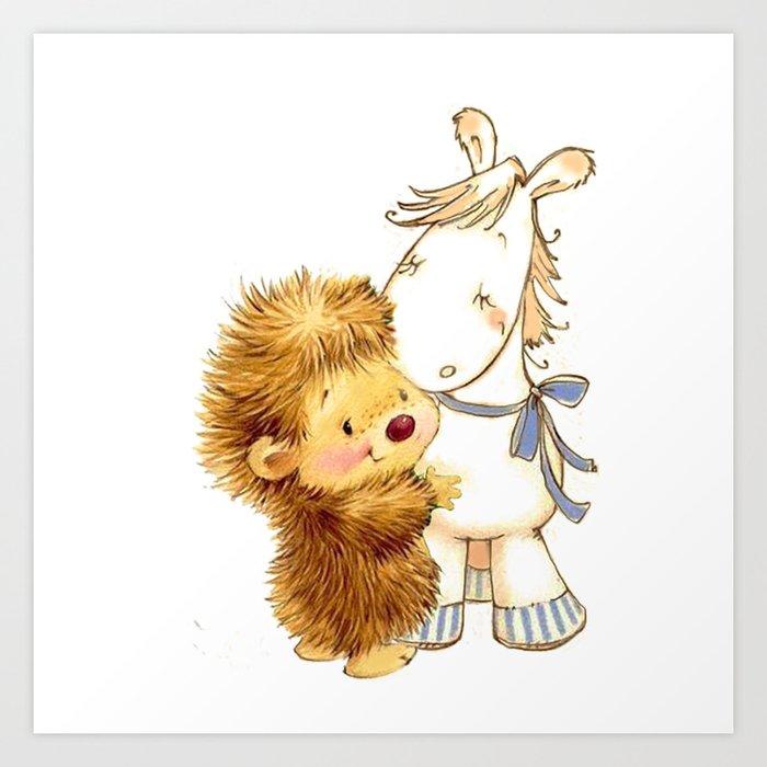 Baby Hedgehog Hedgie Pony Horse Nursery Room Art Print By Lyricalperceptions