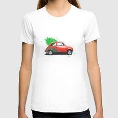 Italia - Fiat 500 retro LARGE Womens Fitted Tee White