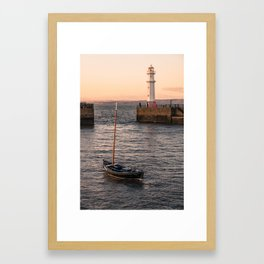 Lighthouse at the Harbor Framed Art Print