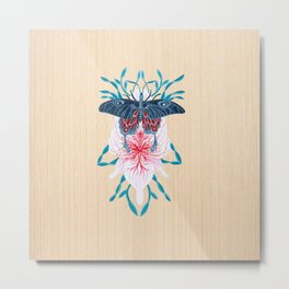 Butterfly White Orchid Tattoo on wood Metal Print