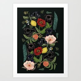 Botanical and Black Pugs Art Print