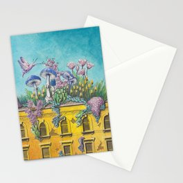 Yellow Building in Pilsen with Natural Growth Stationery Cards