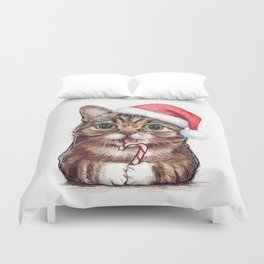 Christmas Cat in Santa Hat Whimsical Holiday Animals Duvet Cover