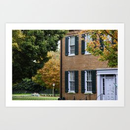 Brick house with Fall leaves Art Print