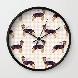 Airedale Terrier scottish kilt bagpipes funny custom dog portrait dog breeds by pet friendly Wall Clock