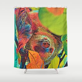 AnimalColor_Sloth_001_by_JAMColors Shower Curtain