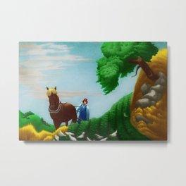 Classical Masterpiece 'Plowing Fields' by Bernard J. Steffen Metal Print