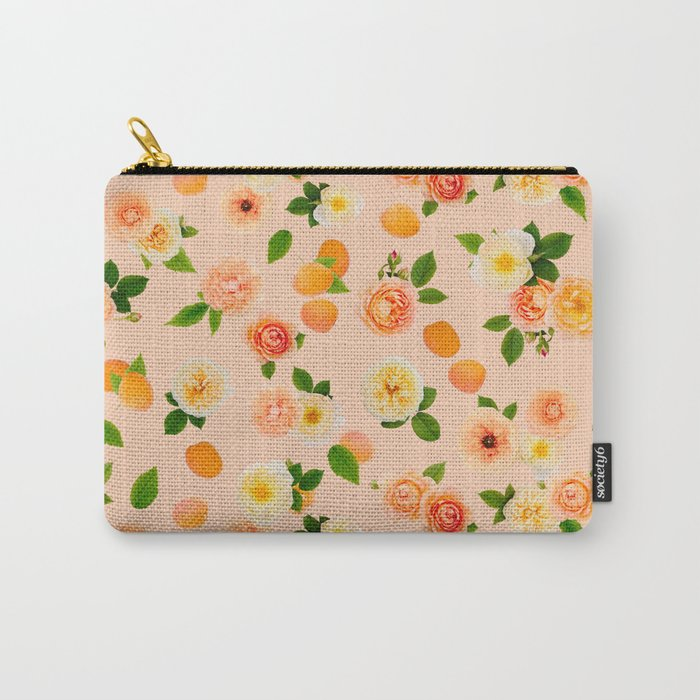Apricot Rose in Peach Sorbet Carry-All Pouch