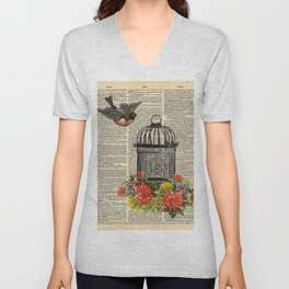 Birdcage on Dictionary Page Unisex V-Neck