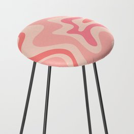 Liquid Swirl Abstract in Soft Pink Counter Stool