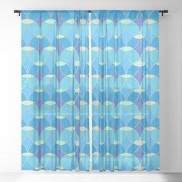 Blue & Gold Tile Pattern Sheer Curtain