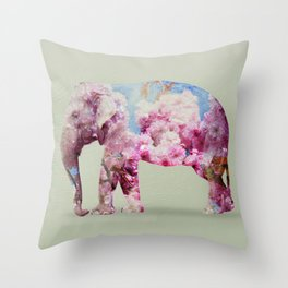 Cherry blossom Elephant Throw Pillow