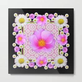 Floral Abundance Black Shasta Daisy Pink Roses Abstract Art For the home or the office and gifts fro Metal Print