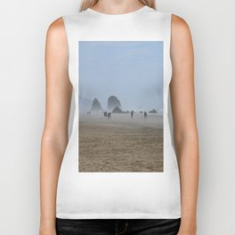 Misty Morning At Cannon Beach Biker Tank