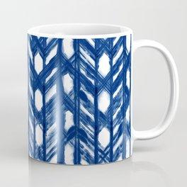 Indigo Geometric Shibori Pattern - Blue Chevrons on White Coffee Mug