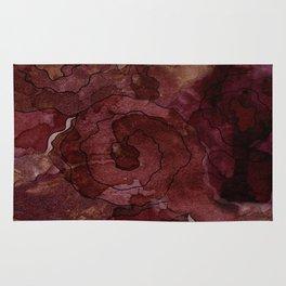 Rose, Burgundy and Merlot Watercolor Flowers Rug
