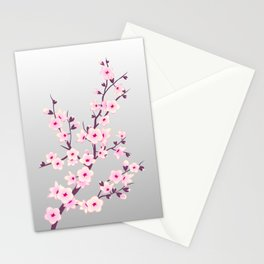Cherry Blossoms Pink Gray Stationery Cards