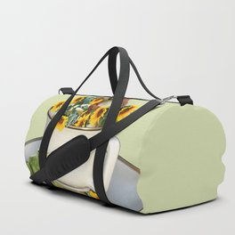 Coffee Cup with squirrel and frog and sunflowers Duffle Bag