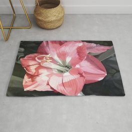 Pink Amaryllis Watercolor Botanical Garden Flower Painting Nature Art Rug