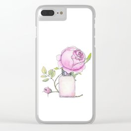 Fragrance bottle with rose flower Clear iPhone Case