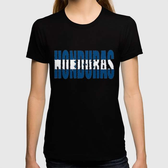 Honduras Font with Honduran Flag T-shirt