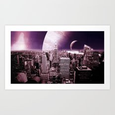 New New York : Galaxy City Dark Mauve Art Print