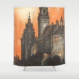 Krakow 01 - Vintage Poster Shower Curtain