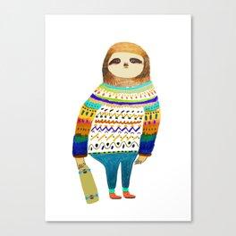 Hipster sloth skateboarder Canvas Print