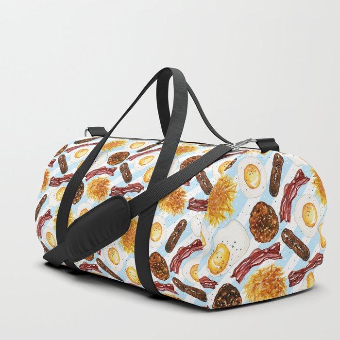 American Diner Breakfast on Blue Duffle Bag