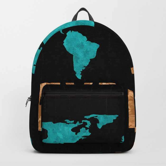 World Map - Teal and Copper Explore Globe Backpack