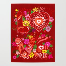 Love Hearts Flowers - Valentine's Day Gifts Poster